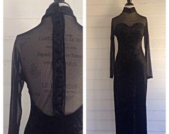 Vintage 1980s Black Crushed Velvet and Sheer Floor-Length Dress w SWEETHEART Bust
