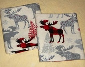 Country Primitive Flannel Pillowcases deer bucks red plaid cotton bedding linens cabin lodge wildlife