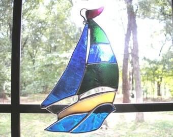 LT Stained glass Sailboat sun catcher light catcher blue, green, 8 x 5 window ornament