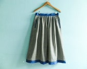 Vintage wool skirt / check checked plaid / blue white brown / high waist / side pockets / fall winter / midi / medium