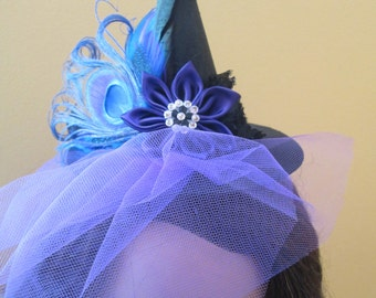 Blue & Purple Mini Witch Hat Fascinator, Headband, READY TO SHIP, Peacock Feather Women's Witch Hat, Halloween, Mary Poppins Hat, Steampunk