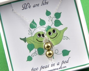 Peas in a pod,Two Green Peas In A Pod, Silver Necklace, gift boxed necklace