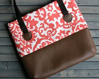Coral and Brown Leather Medium Diaper Bag Tote