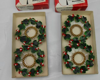 Vintage Bobeche candle drip protectors by Paragon candles Christmas wreath candle holders holly leaves and gold beads Decorated bobeche