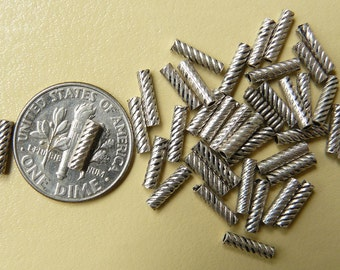 Sterling silver Beads 36 in all-2x8mm twisted tubes 925 silver guaranteed b1