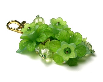 Flirty Green Floral Crystal Pearl Cluster Gold Handbag Charm Keychain Lime Green Flower Purse Accessory Spring Pearl Cluster Gift For Women