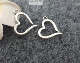 Shop sale-40 pcs open heart charms pendant -T1021
