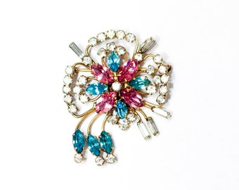 Vintage brooch or pendant, gold filled setting with blue pink and clear stones 1/20 12k GF Quill