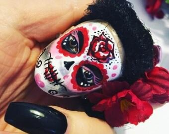 Sugar Skull Barbie Doll Keychain Day of the Dead Dia de los Muertos Bettie Page
