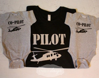 Fathers Day Pilot Co-pilot Family Pick your Aviation and color combo Pilot with Twins