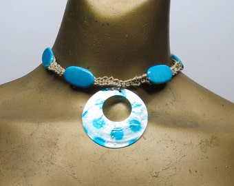 SALE Turquiose blue and white choker necklace made with hemp. Long ties in back. HCK-324