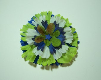 Seattle Football Colors,  Hair Clip or Lapel Pin Flower, Fashion Accessory, Lime Green White and Blue