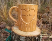 On Sale Initials Tree Carved Wood Grain Mug for Lovers Personalize for Valentine's Day Handmade Ceramic from my Charleston, SC Studio