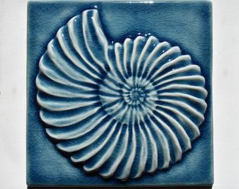 Seashell Ammonite Tile Fossil Teal