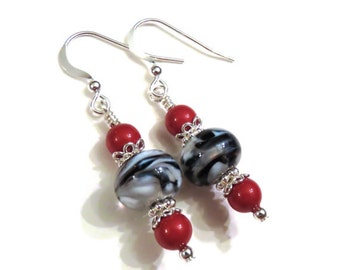 Black & White Lampwork Earrings With Swarovski Pearls, Black Earrings, White Earrings, Lampwork Jewelry, Pearl Earrings, Red Pearl Earrings