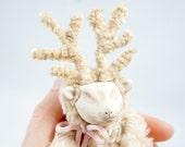 Woodland Deer Art Doll - OOAK Deer Art Doll - Sleeping Deer Art Doll - Light Brown Sleeping Baby Deer Art Doll - Handmade Deer Art Doll Set