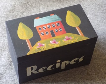Folk Style House Themed Recipe Box