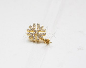 One Piece (One Pair) / Gold Plated / 925 Sterling Silver / Flower Rhinestone Charm With Setting Cap