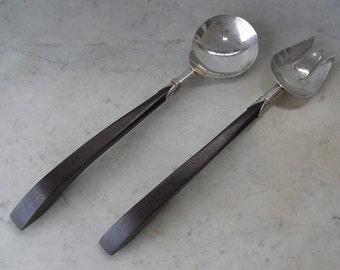 "STERLING MEXICAN SALAD Set Rosewood Handles Salad Serving Utensils 11+"" Spoon & Fork Set 925 Silver Hallmarked  1940-70's"
