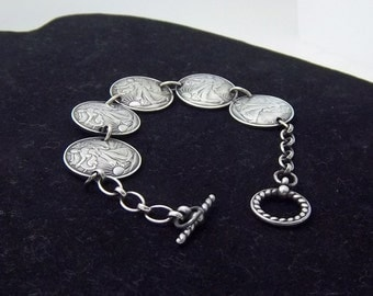 "Silver Bracelet Mothers Day Gift  unique handmade from 1/10 oz 99.9% silver coins w/Sterling chain and jump rings 8""  bracelet"