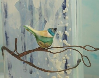 Bird bead. Handmade lampwork glass bird pendant.
