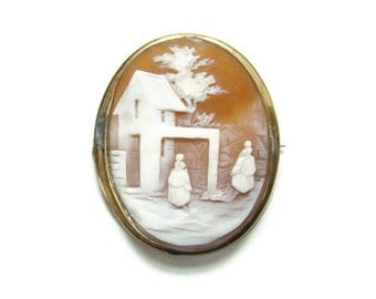 Victorian Carved Shell Cameo Pin Rebecca at the Well Gold Filled Setting