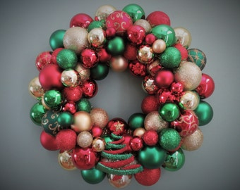 "Christmas Wreath 16""-RED & GREEN  and GOLD Christmas Ornament Wreath with Tree Ornament"