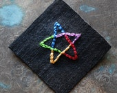 GAY PENTAGRAM Hand Embroidered Art Patch, Rainbow on Black