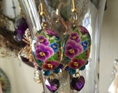PANSIES and HEARTS - Flower Dangle EARRINGS