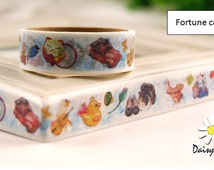 M199 Fortune Cat Washi Tape, Duck Washi Tape, Masking tape, 1.5cm x 5m washi tape, planner decoration, adhesive paper tape, journal