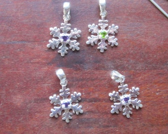 Sterling Snowflakes with a stone