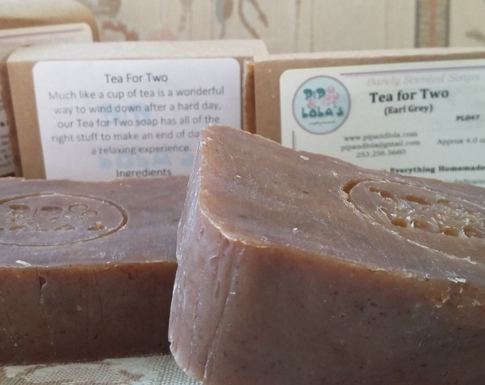Tea for Two Soap - Earl Grey Soap -  All Natural Soap, Handmade Soap, Barely Scented Soap, Hot Process Soap, Vegan Soap,