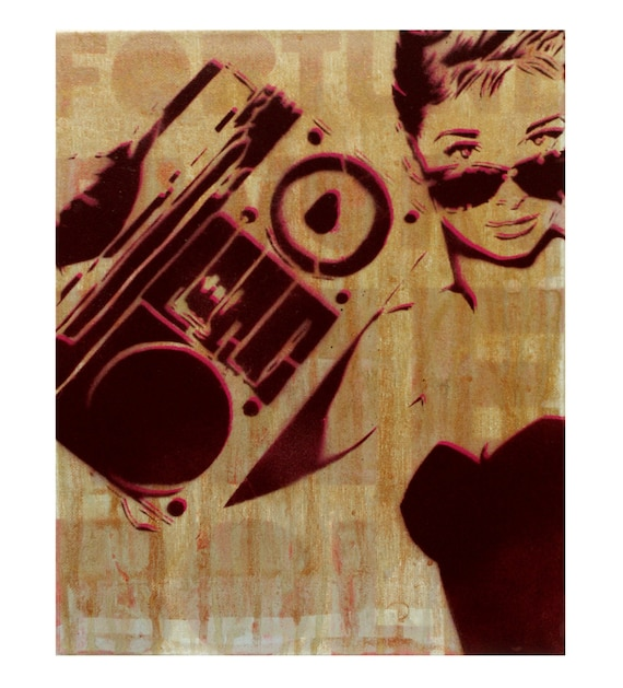 Audrey Hepburn Painting Boombox at TIFFANY'S 11 x 14 Portrait Original Artwork Stencil and Spray Paint Graffiti Inspired Hollywood Painting