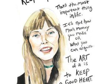 Joni Mitchell portrait and inspiring quote