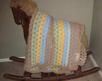 Tan, Green, Yellow, Blue Scallop Stitch Afghan