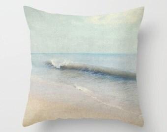 Pillow Cover, Beach Pillow, Ocean waves Throw Pillow, soft gray blue pillow, grey blue beige pillow, Seacape Decorative Pillow