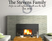 Joshua 24: 15 Family name monogram and scripture As for me and my house custom personalized name vinyl wall decal