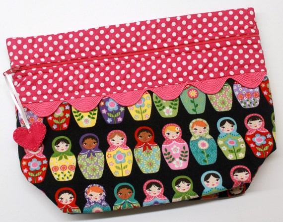 Lil' Big Bottom Matryoshka Dolls Cross Stitch Embroidery Bag