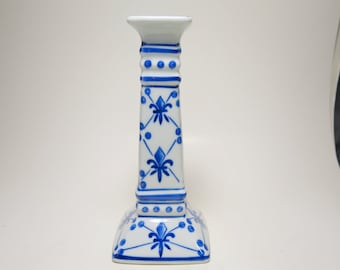 Vintage Marked Chinese Fleur-De-Lis Blue and White Porcelain Candle Holder, Chinese Porcelain, Porcelain Candle Holder, Blue and White