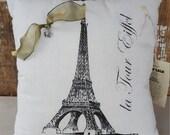 """12"""" x 12"""" Paris Themed Decorative Throw Pillow"""