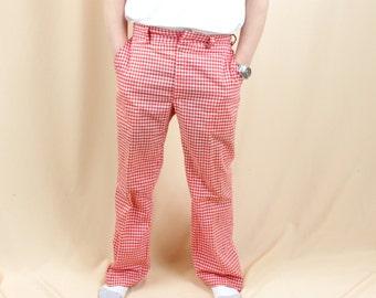 Mens Mod Pants * Red and White Gingham Pants * Cotton Pants * Mens Pants * Mens Mod Pants * Mens Golf Pants * Retro Pants * 60s Pants