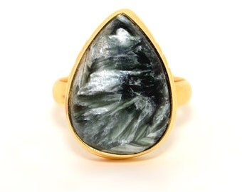 COA:NM Signature Series! Authentic Saraphinite Sterling Silver Ring