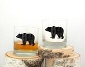 Rustic Bear Whiskey Glasses - Set of Two Small Tumbler Glasses - 11oz.