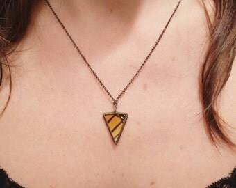 Monarch Butterfly - Reversible Geometric Pendant Necklace