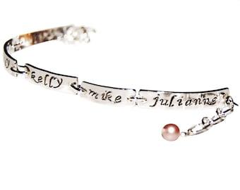 Six Name personalized mom or grandmother bracelet, sterling silver 6 name bar bracelet, silver message jewelry, childrens names bracelet