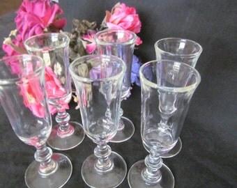 Vintage Tall Shot Glasses, Sherry / Wine Glasses Set of 6