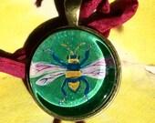 Bee / Bumblebee   - Original Art - Bead / Charm / Pendant - Glass Tile - Cathy DeLeRee