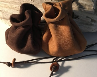 Leather Pouch Bag - Nubuck Leather - Neck Pouch - Medicine Bag - Sage Sackt