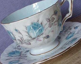 Vintage 1950's Blue Rose tea cup and Saucer, Aynsley Pale blue teacup, 20th Anniversary gift, English tea cup Mid Century bone china teacup,