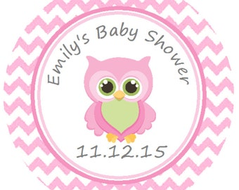 Baby Shower Printed Personalized Pink Owl Round Party Stickers for Party Favors - Adorable Pink Owl Chevron Labels   **Discounts Available